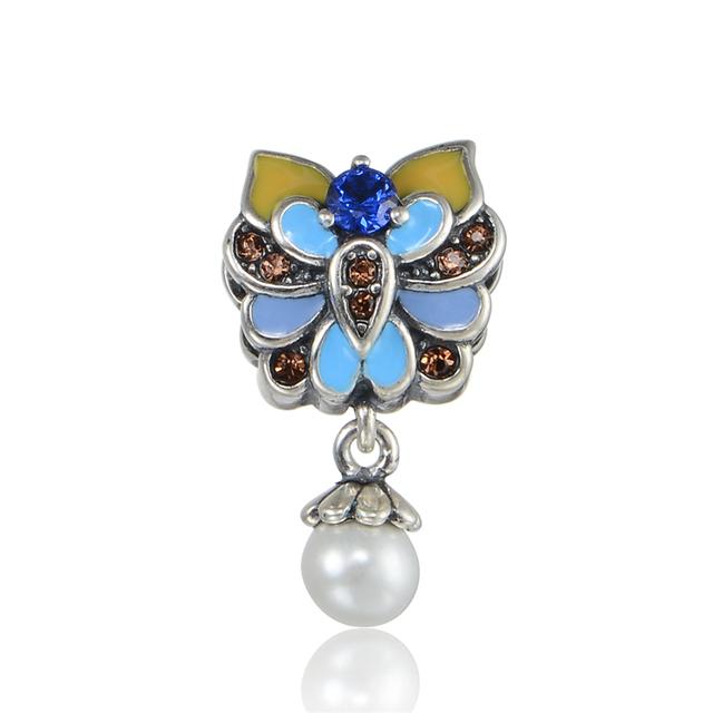 Esmalte flor cz pérola bead fit chamilia pandora encantos pulseira 925 sterling silver jóias diy talão de moda de jóias por atacado