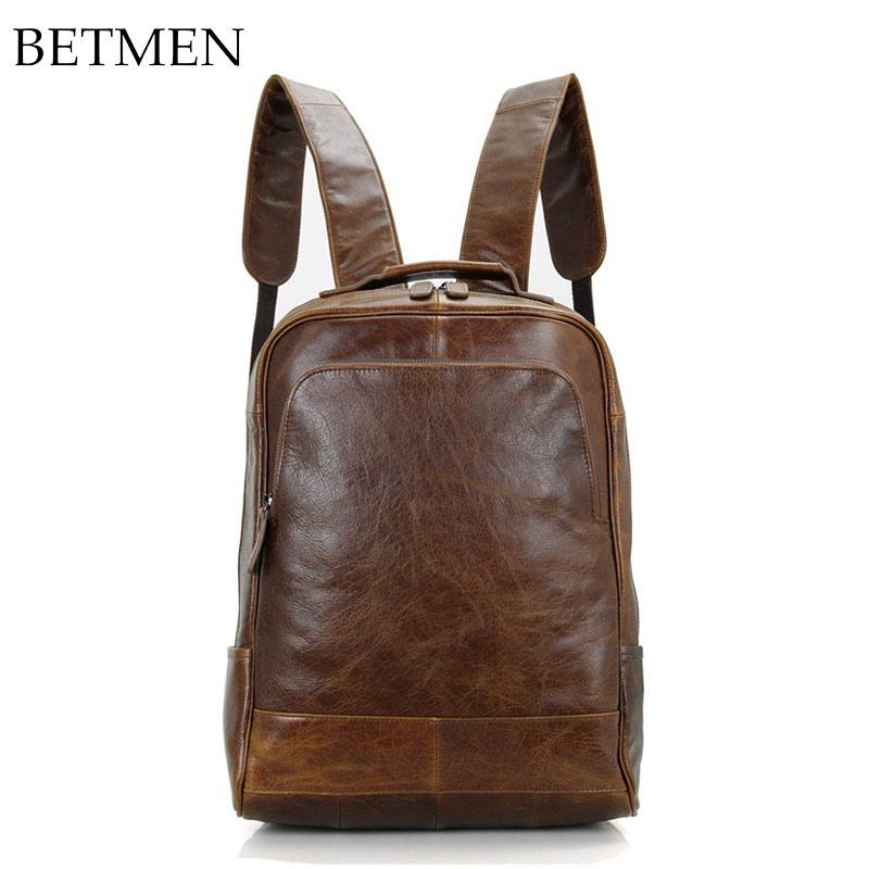 BETMEN Luxury Vintage Men Backpack Genuine Leather Backpacks for Student Men Brand Mens Travel Bags jmd genuine cow leather mens laptop backpack for student school backpacks 7347c