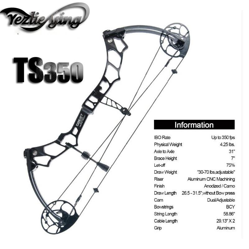 Arco compuesto paquete TS350 25 -31 de longitud 30-70Lbs de peso Y varios accesorios para actividades al aire libre