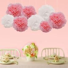 5Pcs 10/15/20cm Pompom Tissue Paper Pom Poms Flower for Wedding Car Decoration Party Favor DIY Handmade Craft Balls