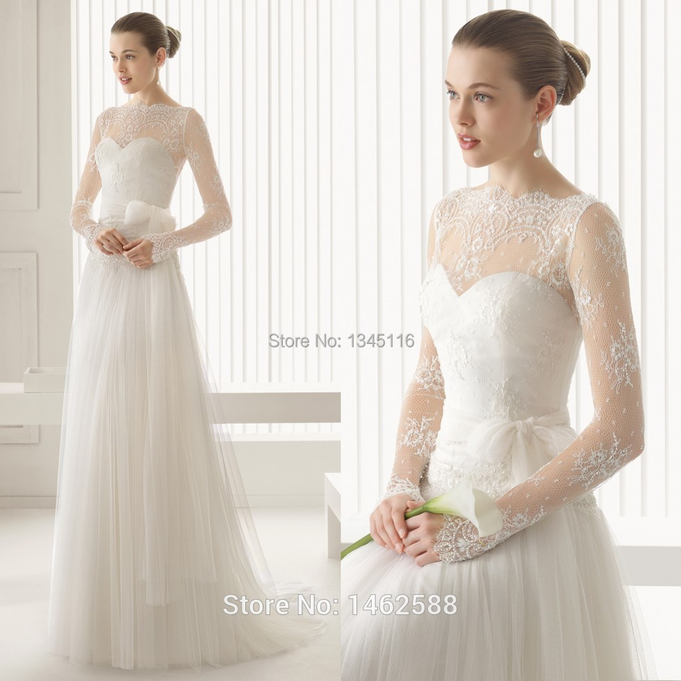 Wedding Dress Long Sleeves High Neck Flower Girl Dresses