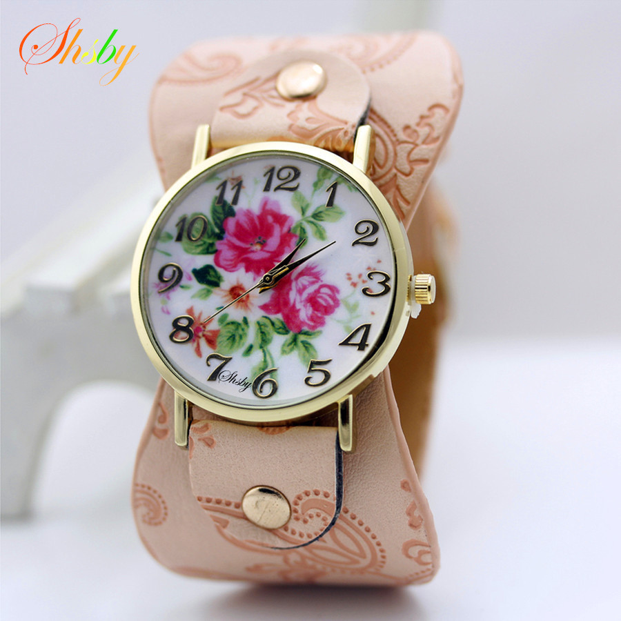 shsby new Printed leather Bracelet Wristwatch Wide band Women dress Watch with peony flowers Fashion Casual Watch girl's gift kiind of new blue women s xl geometric printed sheer cropped blouse $49 016