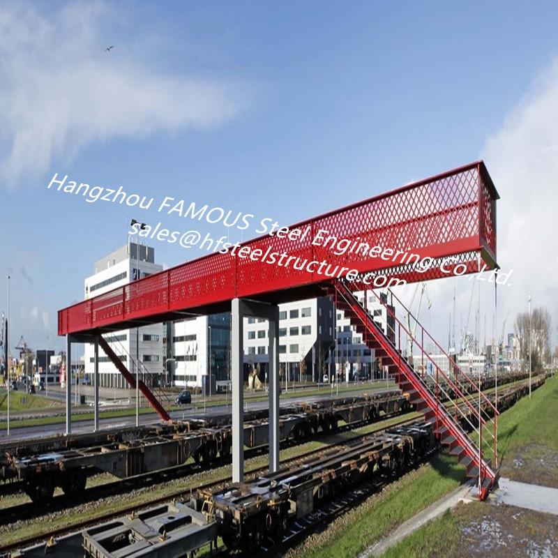Modern Pedestrian Steel Bridge Across Railway Modular Steel Bailey Footbridge Overpass Road