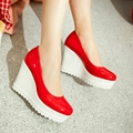 Apricot White Red Black Patent Leather Round Toe Shallow Mouth Heavy Bottomed Slope Heels Wedges Shoe Size 40 Women's Shoes