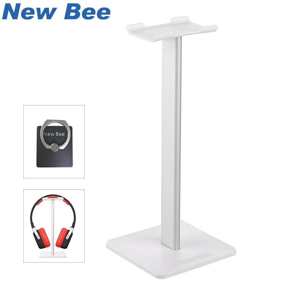 Nueva abeja de moda pantalla soporte de auriculares auricular titular auriculares soporte cuero de Metal y de TUP para auriculares blanco