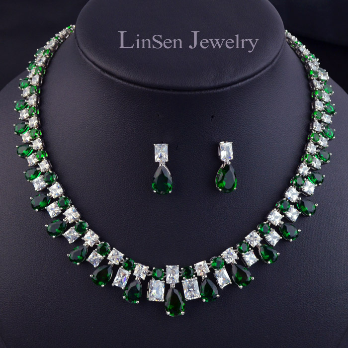 High quality red blue white green zircon luxury party wedding jewelry set for women girls necklace