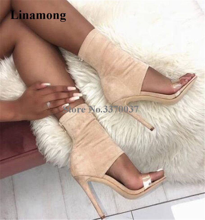 Hot Selling Women Fashion Open Toe Bandage Suede Leather Thin Heel Gladiator Boots One PVC Transparent Ankle Wrap High Heel BootHot Selling Women Fashion Open Toe Bandage Suede Leather Thin Heel Gladiator Boots One PVC Transparent Ankle Wrap High Heel Boot