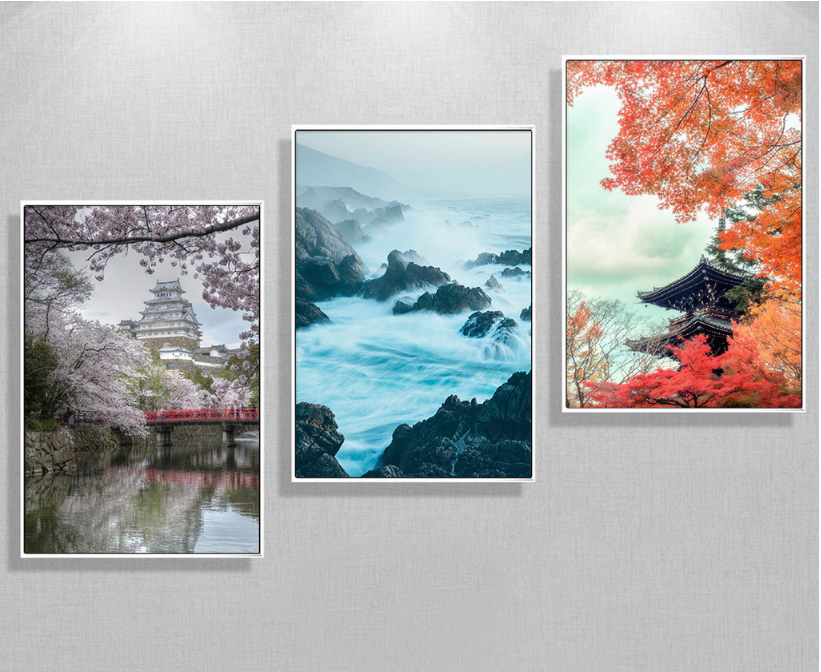 Spring Landscape Posters Japanese City View Cherry Flower Tree Wall Art Picture Bedroom Decoration Hd Print Canvas Painting