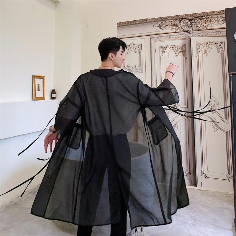 Men Translucent Mesh Trench Coat Male Japan Streetwear Punk Gothic Hip Hop Long Cardigan Jacket Stage Clothing