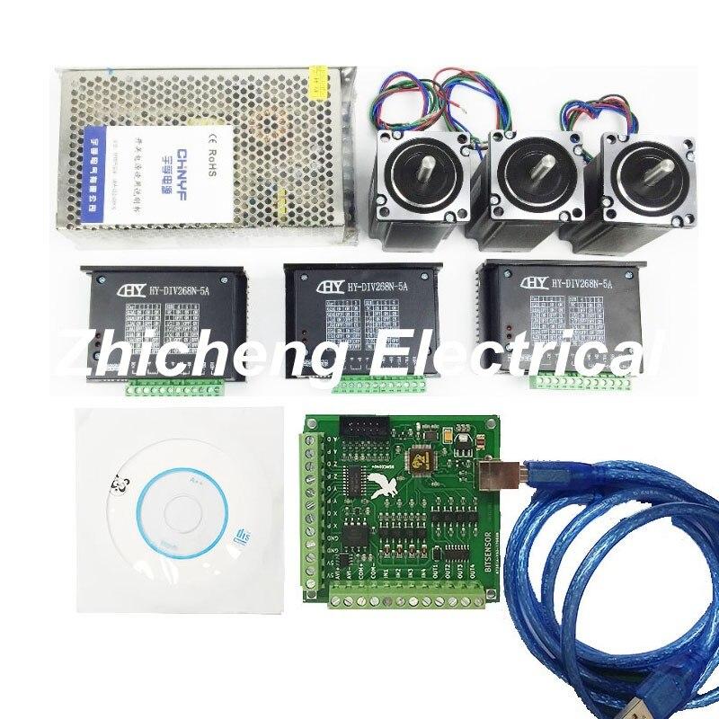 CNC Mach3 USB 3 оси комплект, 3 шт. TB6600 Драйвер + Mach3 USB шаговый двигатель плате контроллера + 3 шт. nema23 шаговый двигатель + источника питания