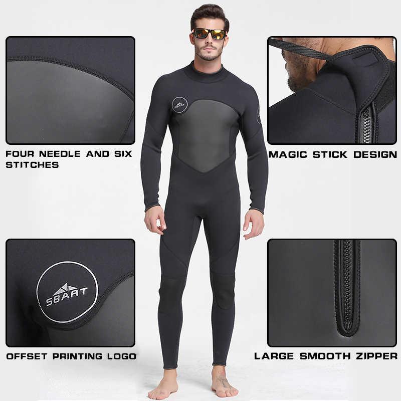 SBART Baru Neoprene 3 Mm Menyelam Suit Hangat Pria Lengan Panjang Scuba Wetsuit Mencegah Ubur-ubur Snorkeling Triathlon Surf Wet Suit