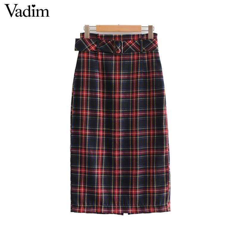 e8374c907 Vadim women vintage plaid midi skirt faldas mujer bow tie sashes elastic  waist checkered female casual