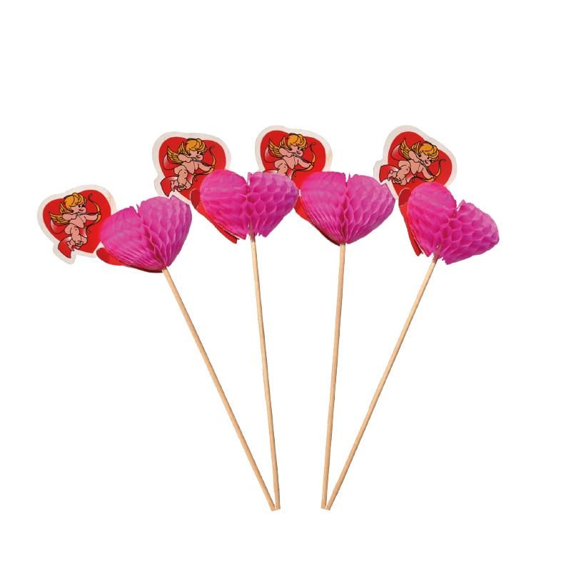 10pcs 3D Cupid 추천 Art Toothpick Cupcake Toppers 스틱 웨딩 파티 장식 과일 / 파이 / 아이스크림 Pricks
