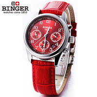 New Classic Skeleton Analog Display Number Watch Women Automatic Mechanical WristWatch Bright Red Leather Dial Binger Watches