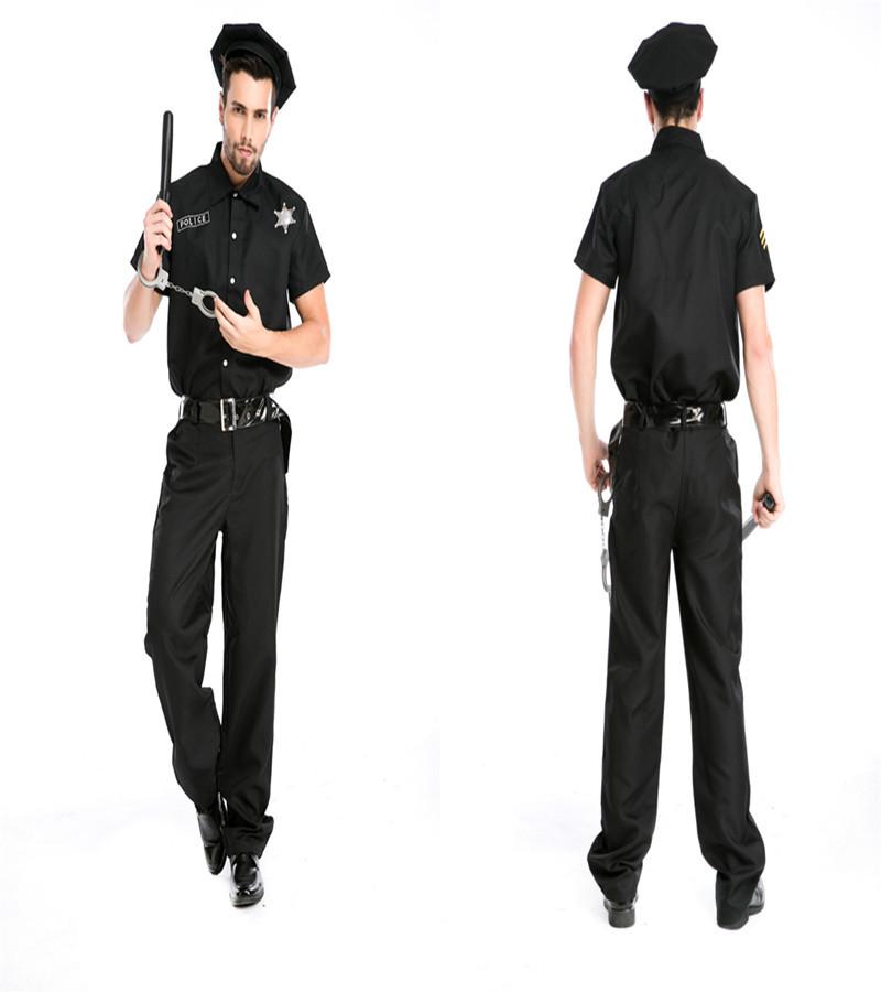 hombres hombres polica cop uniforme trajes de cosplay del partido de halloween trajes de cosplay del