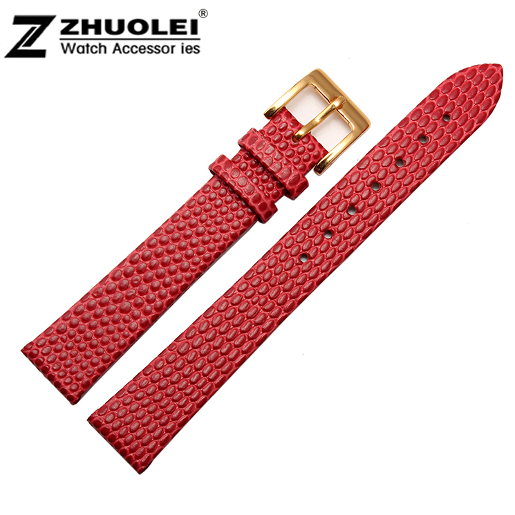 10mm 12mm 14mm 16mm 18mm 20mm New High Quality Women Red Genuine Leather Watch Band Strap Bracelet With Gold Pin Buckle Clasp watch band12mm 14mm 16mm 18mm 20mm lizard pattern black genuine leather watch bands strap bracelets silver pin watch buckle