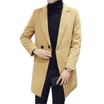 Hot sale 2018 Autumn and Winter New Men's Korean Slim Solid Color Single-breasted Wool coat Long Paragraph coat men's Tide