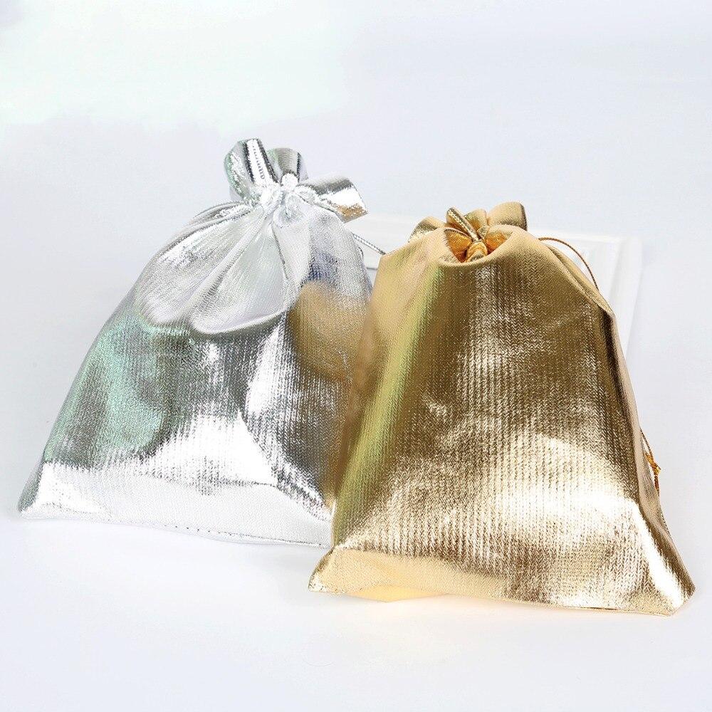 50pcs Silver Color Gold Color Metallic Foil Organza Pouches ...