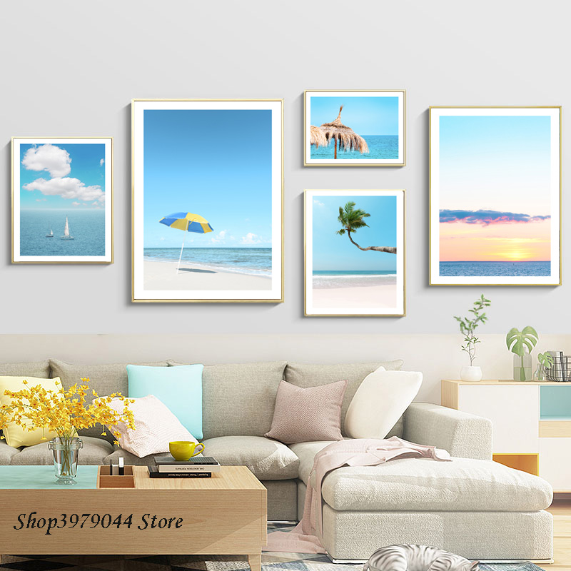 Landscape Painting Coconut Tree Canvas Painting Decoration Home Art Beach Poster Nordic Wall Pictures For Living Room Unframed