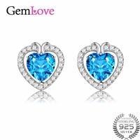 Gemlove Blue Topaz Heart Silver Earrings Studs 925 Sterling Silver Diamond Jewelry Earrings Sieraden Gifts With