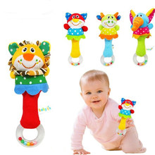 Animal hand bar bell and baby teethers rattles baby plush toy and hand bell baby toys WJ093(China)