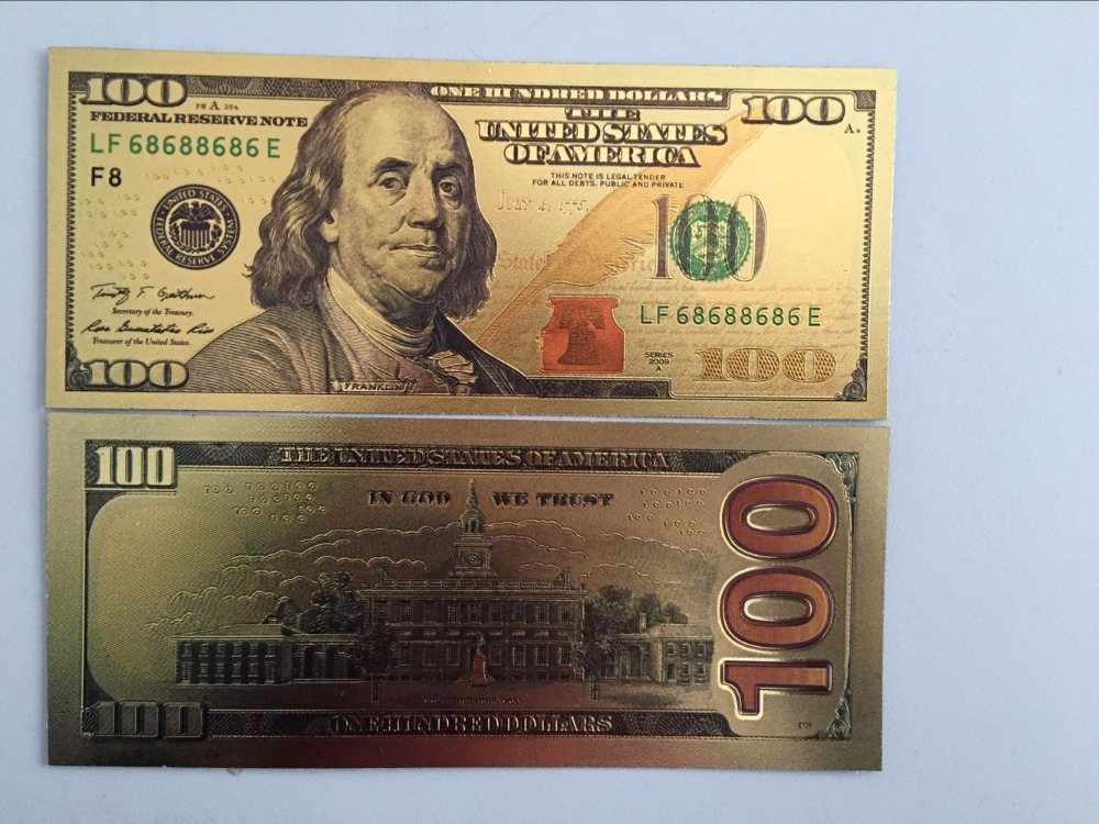 100 Dollar USA Gold Fake Banknote Currency Bill Paper Money Medal 24k United States OF America chirstmas gift Gold banknotes