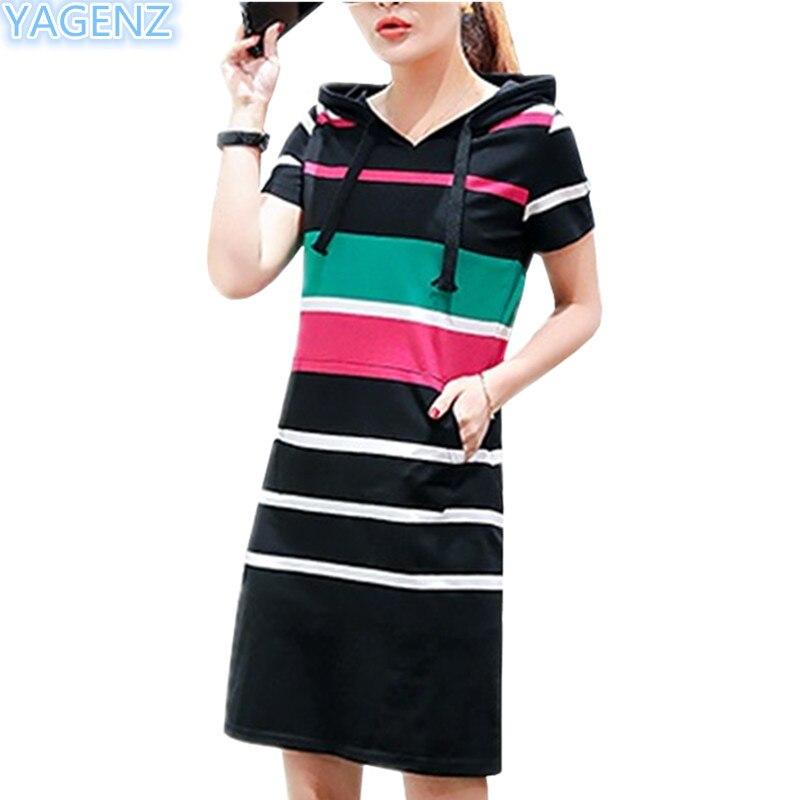 YAGENZ haute qualité robes décontractées à manches courtes robes à capuche femmes d'été dames robe de mode robes longues rayé 32