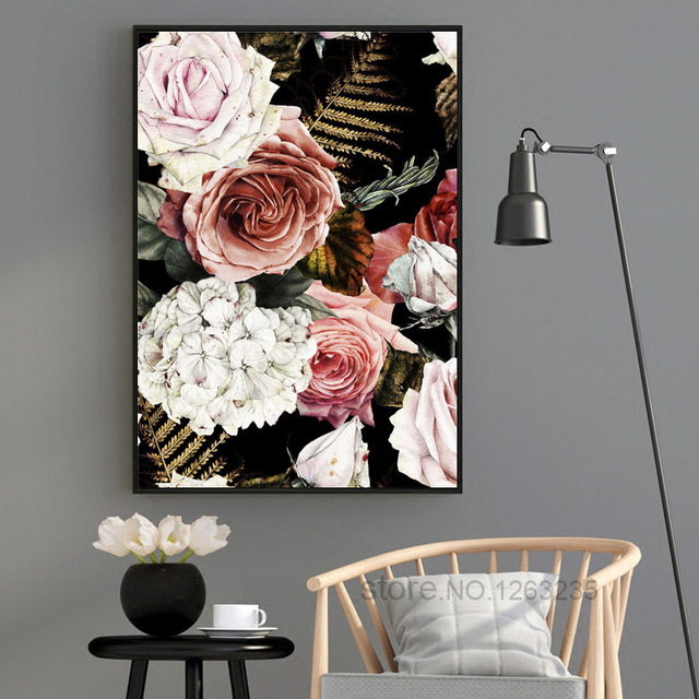 Noble Flower Classic Roses Cuadros Decoracion Love Wall Art