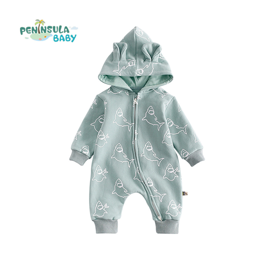 [Peninsula Baby] Warm Thick Cotton Baby Rompers Full Sleeves Ears Hooded Winter One-Piece Body Suits Infant Outfit Child Clothes