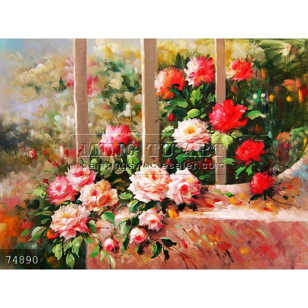 100% Handmade Impressionist Beautiful Pink Red Rose Flower Garden Oil  Painting On Canvas No Frame