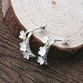 Venda quente Real esterlina-prata-925 Prata Esterlina jóias Brincos Flor de Ameixa para As Mulheres Lady Love Fashion Jóias