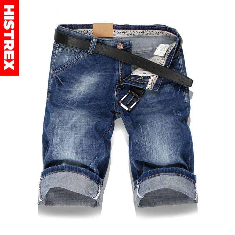 HISTREX Large Size Men Hole Denim Shorts Male Short Jeans Summer Casual Blue Short Jeans Short Pants Plus Size 36 38 40 #HJU8L