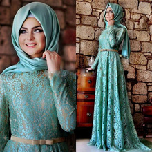 Gorgeous Muslim Lace Evening Dresses Floor Length Full Sleeves Long Evening Gowns Sash Hijab Vestido Arabic Dubai Kaftan Fashion