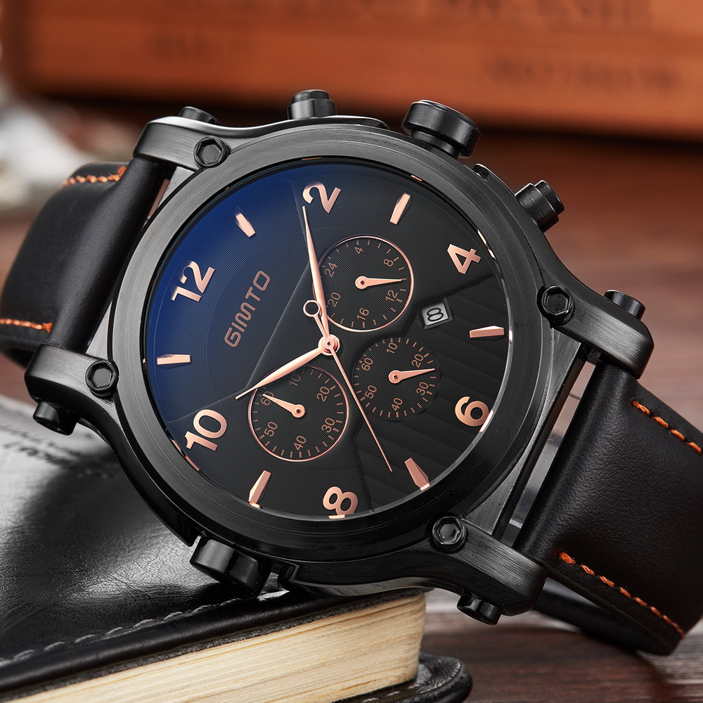 Big Dial Luxury Men Watches Date Genuine Leather Military Quartz Watch Waterproof Casual Sport Men's Wrist Watch montre homme pattous mens sports watch black genuine leather chronograph dial date sport quartz watches miyota quartz wrist watch gift box