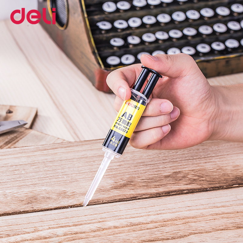 Купить с кэшбэком Deli 4 ml syringe shape strong adhesive AB glue for glass metal wood stone ceramics quality liquid super office glues waterproof