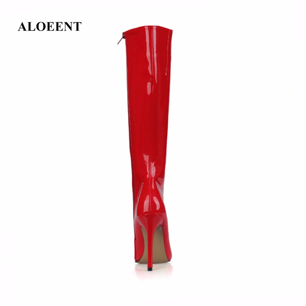 ALOEENT Patent Leather Slim Boots Sexy Knee High Women Boots Womens Fashion Winter Thin High Boots Winter Shoes
