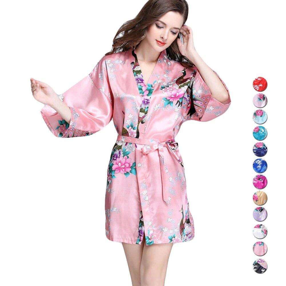 Unlimon Womens Sexy Kimono Robe Mini Stain Bathrobe Half Sleeve Ladies Housecoat Plus Size S 2xl Imitate Silk Pyjamas Robes Aliexpress