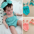 Summer baby girl clothes baby rompers sleeveless + hair hoop neonatal jumpsuit the new 2016 free shipping
