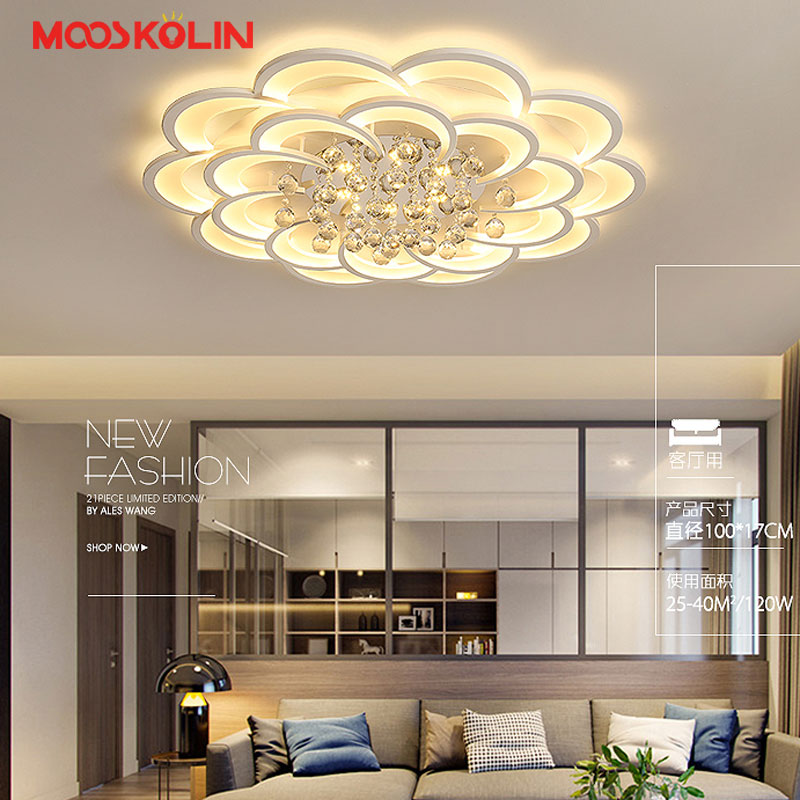 2018 New modern led Crystal Chandeliers for Living Room Bedroom Dining Room Acrylic Lampshade Luminaire Round ceiling fixtures