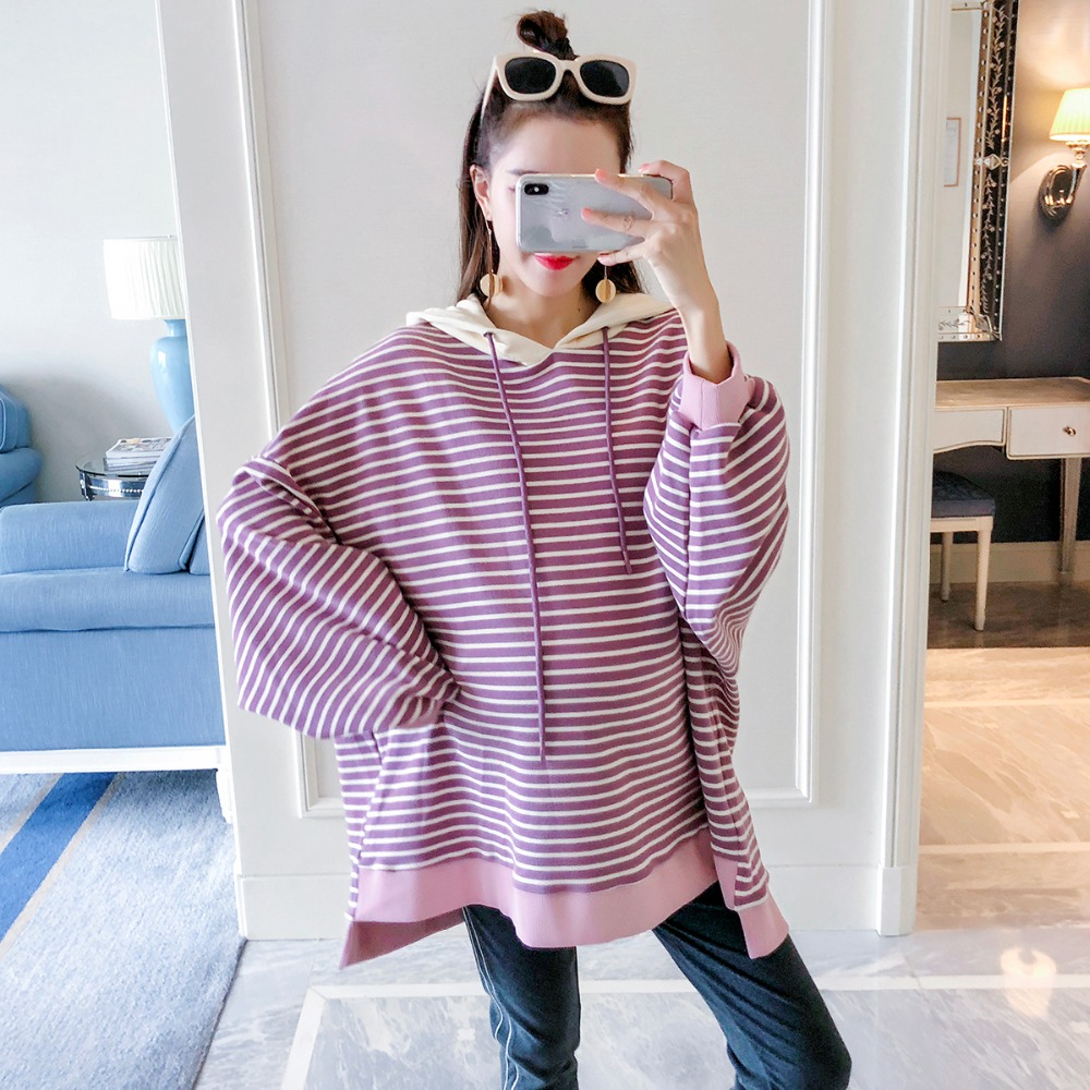 Pregnant women wearing sweater 2018 autumn fashion wild maternity dress large size striped long-sleeved shirt hoodie