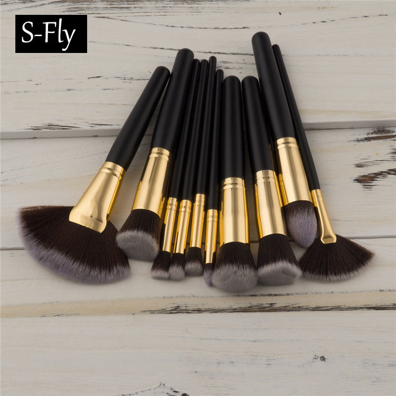 10 Pcs Wood Handle Makeup Brushes Set Eyeshadow Contour Foundation Concealer Blush Powder Fan Brush Beauty Make up Brushes kits цена и фото