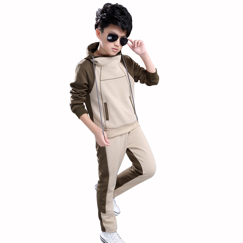 Boy Hooded Tracksuit Clothes set Kids Spring&Autumn Cotton School Uniform Sport Suit Boys Clothing Sets 4 6 8 10 12 14 year