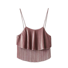 Buenos Ninos solid pink velvet camis ruffles herm sexy black short tops female pullovers 40