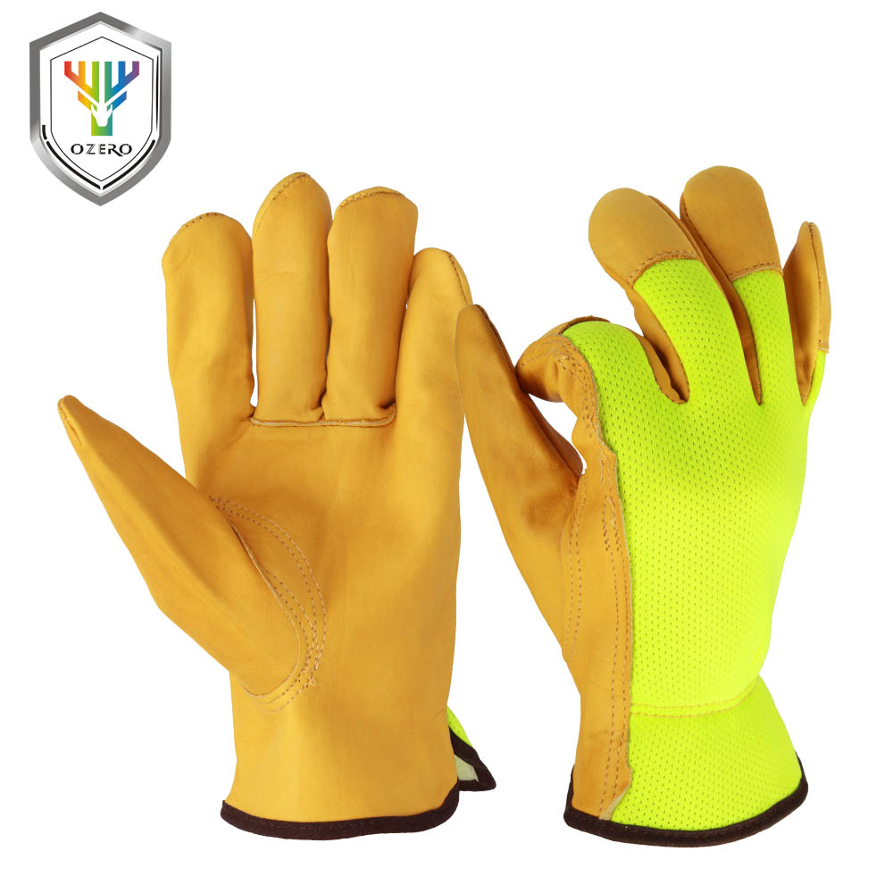 OZERO Work Gloves Safety Protective Welding Garden Gloves Men Summer Fluorescent Gloves For Mechanics Shop Floor Operations 7007 50pcs disposable safety protective latex for home cleaning industria rubber long female kitchen wash dishes garden work gloves a