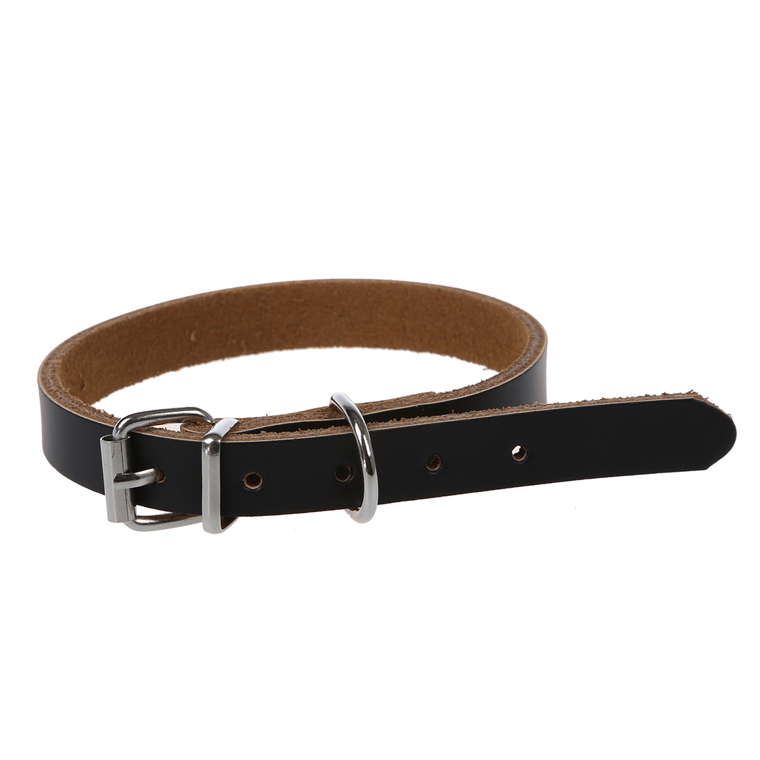 Leather collar for dogs cats puppy pet S Black