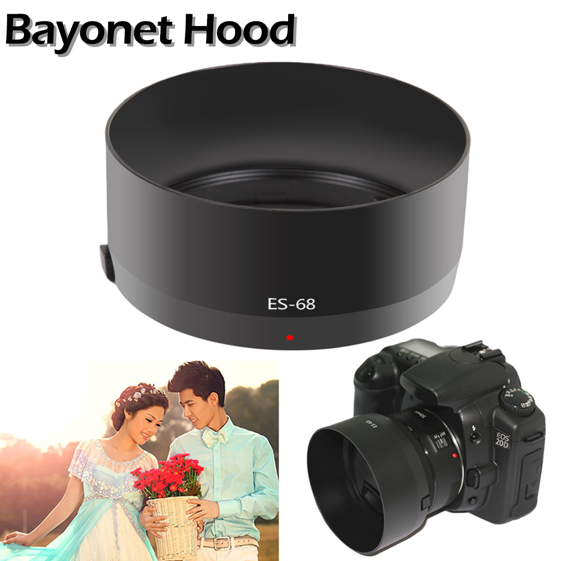 Professional ES68 ES-68 Camera Lens Hood for Canon EOS EF 50mm f/1.8 50mm Screw-in Tulip Flower Filter Thread Camera Lens Hood image