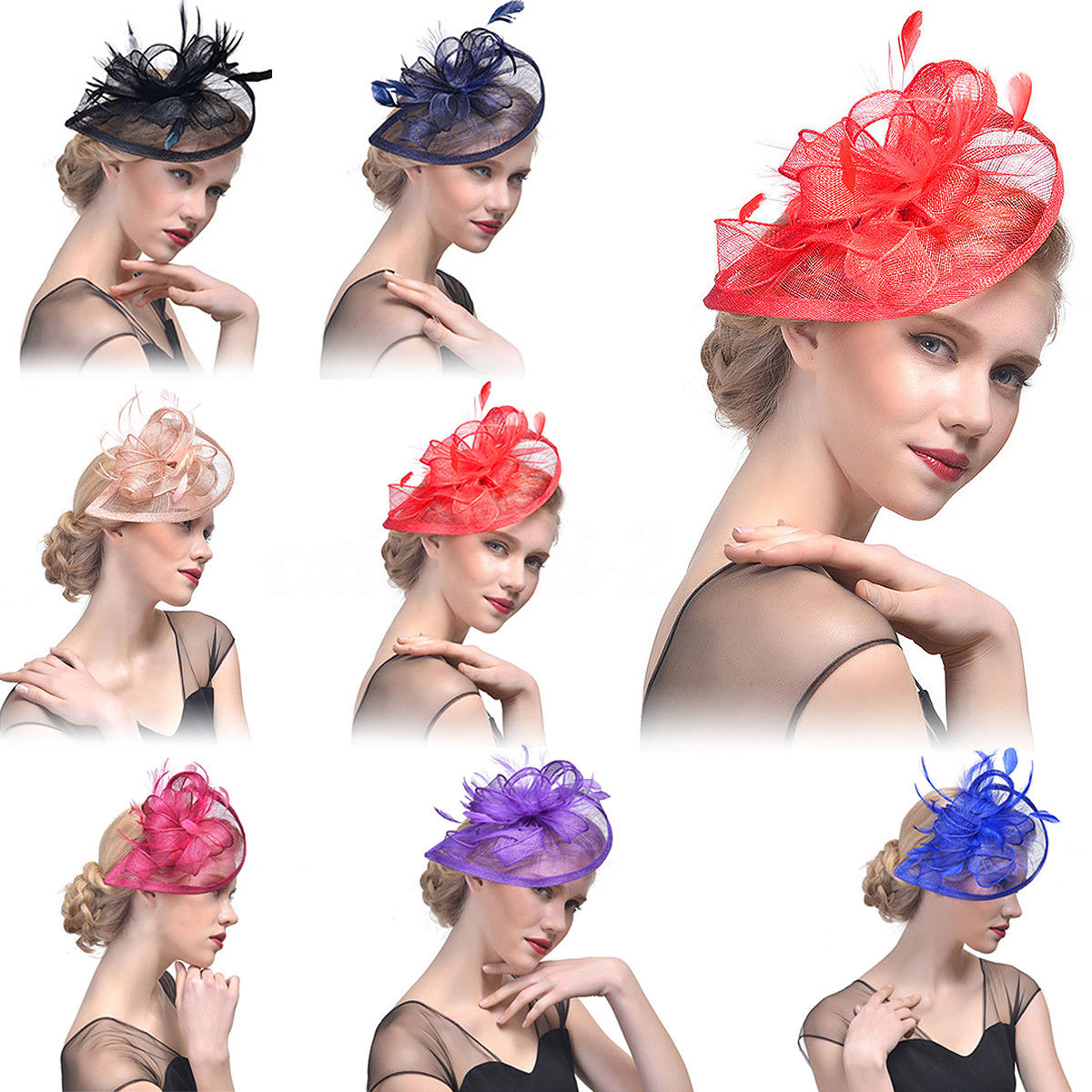 Large Headband Hat Fascinator Alice Band Wedding Hat Veils Linen Tulle  Adult Bride Hats With Ostrich Feather 2 Color 54d6810c887