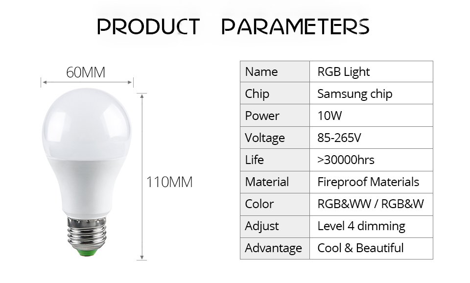 85-265V E27 LED Lamp RGB 15W Bluetooth APP Wifi Control Smart Bulb 10W RGBW RGBWW Light Bulb IR Remote Control Home Lighting (35)