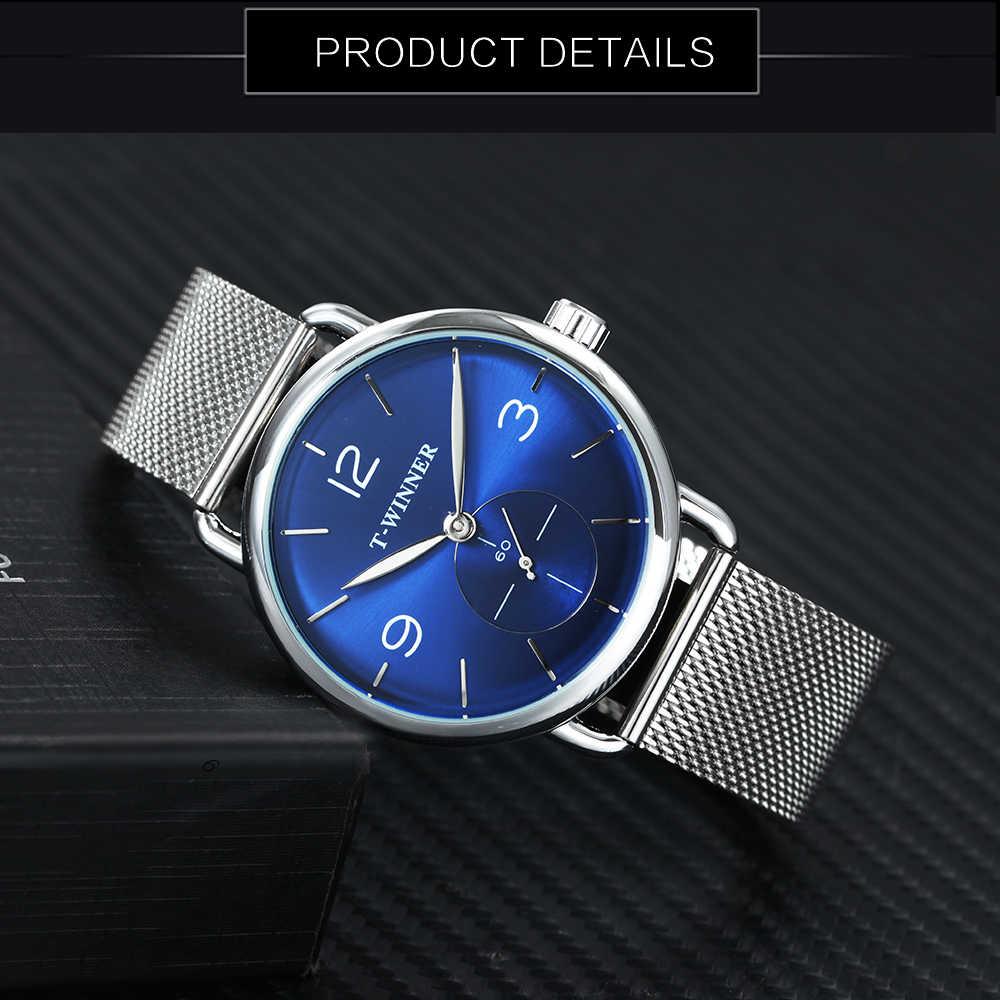 ผู้ชนะอย่างเป็นทางการนาฬิกาแบรนด์หรูนาฬิกาผู้ชายแฟชั่นตาข่ายสีฟ้าMarine Dial Casual Ultra Thin Mensนาฬิกาข้อมือ