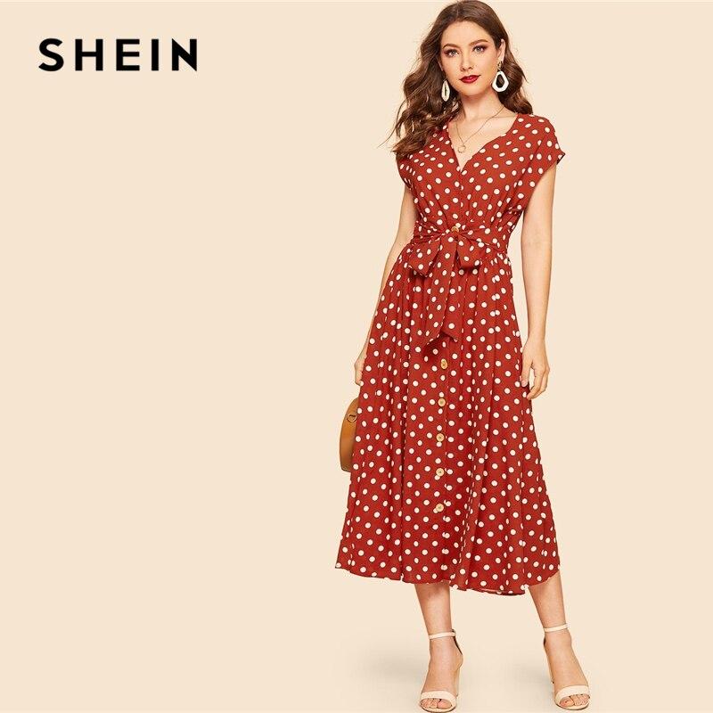 SHEIN/винтажное платье в горошек с принтом ржавчины, с поясом, на пуговицах, женское платье 2019, летнее платье с длинным рукавом, v-образным вырез...
